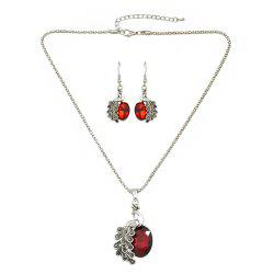 Beautiful Colorful Rhinestone Peacock Pendant Necklace Earrings -