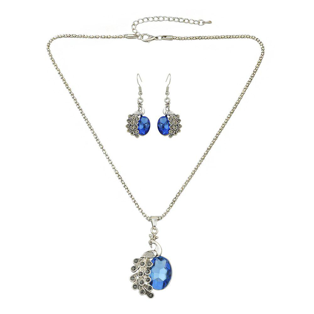 Outfits Beautiful Colorful Rhinestone Peacock Pendant Necklace Earrings