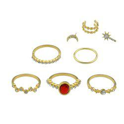 8pcs Gold-color with Rhinestone Stone Ring Ear Clip -