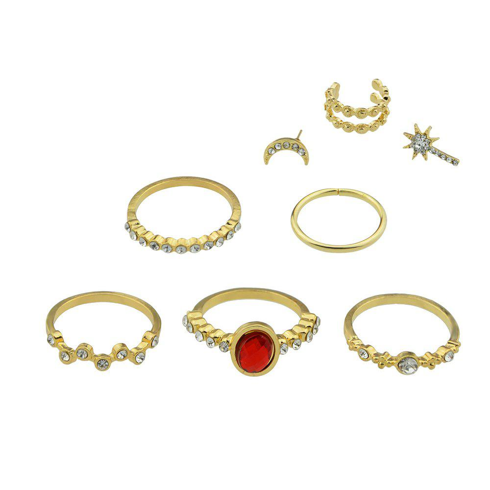 New 8pcs Gold-color with Rhinestone Stone Ring Ear Clip