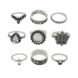 9pcs Silver Color with Geometry Ring for Women -