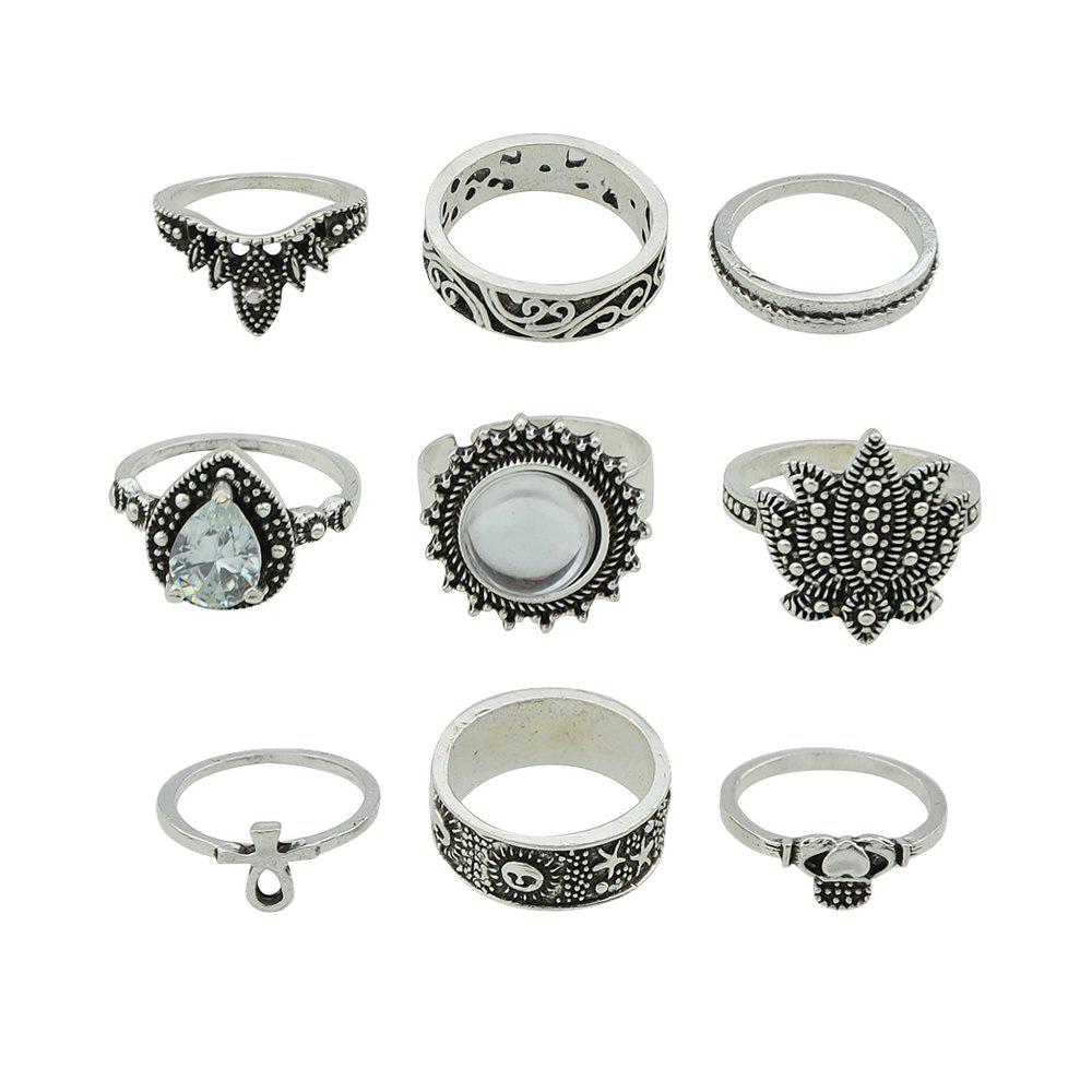 Latest 9pcs Silver Color with Geometry Ring for Women