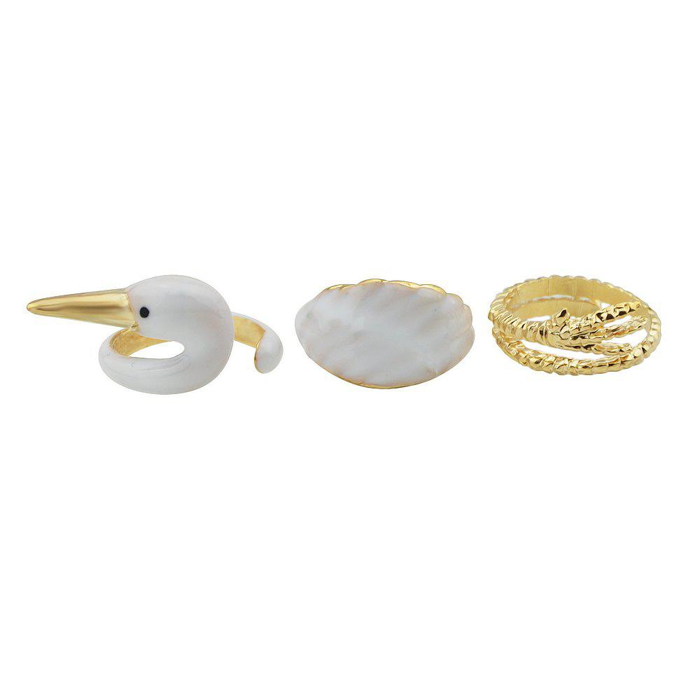 Outfits 3pcs Gold-color with White Enamel Feather Goose Rings