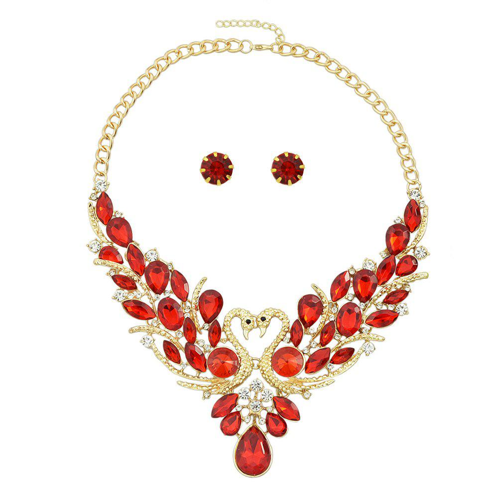 Chic Luxury Fashion Colorful Crystal Peacock Collar Necklace and Earrings