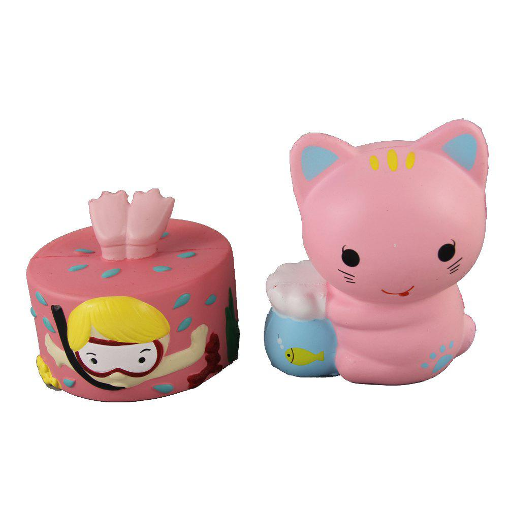 Outfits 2PCS Jumbo Squishy Diver Cake and Fish Bowl Cat Relieve Stress Toys