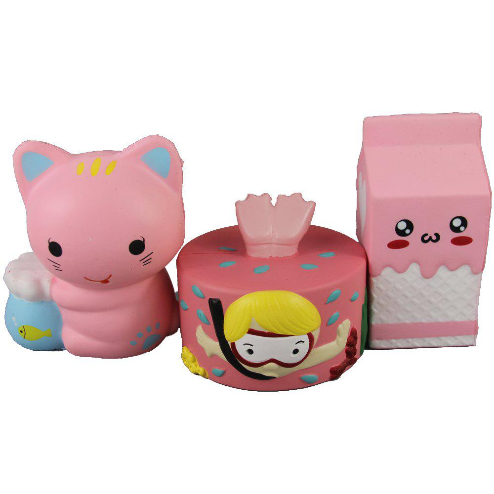Trendy 3PCS Jumbo Squishy Diver Cake Milk Box and Fish Bowl Cat Relieve Stress Toys