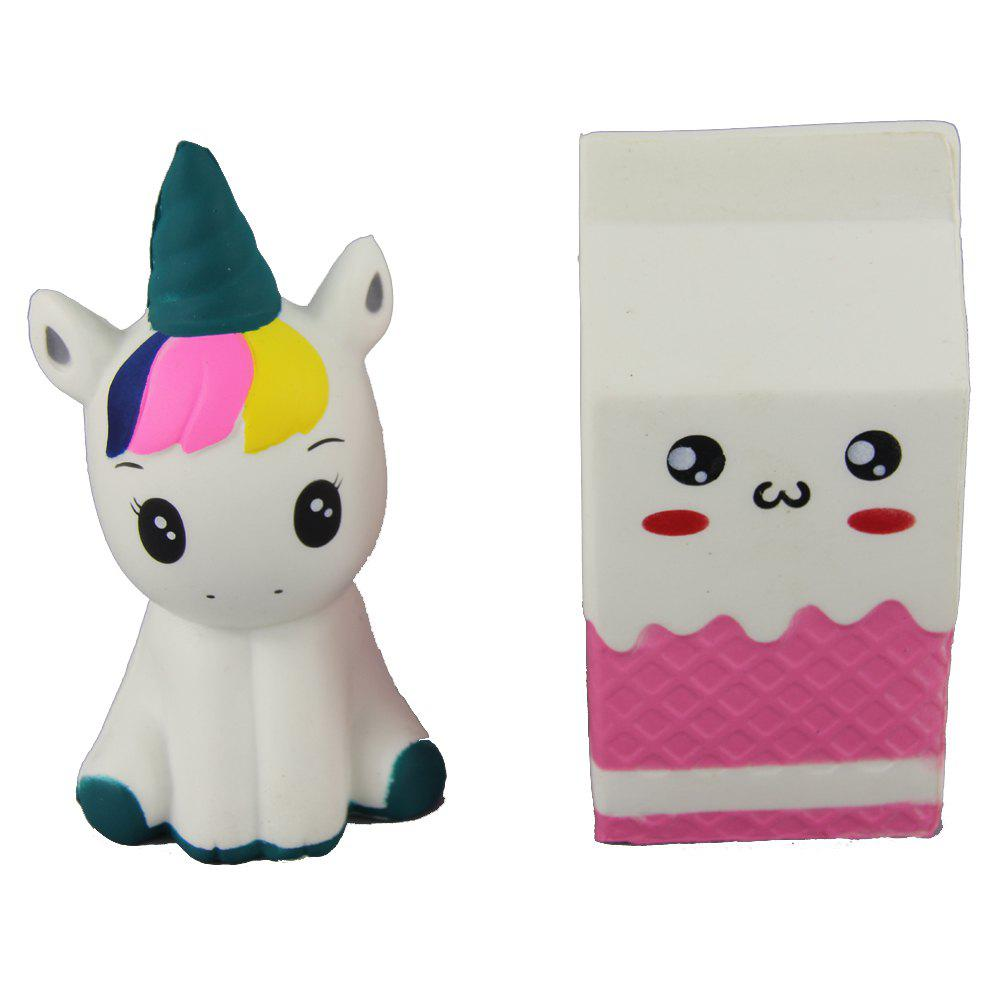 2PCS Jumbo Squishy Beautiful Unicorn and Milk Box Снять стресс-игрушки