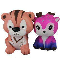 2PCS Jumbo Squishy Tigers and Pink Deer Relieve Stress Toys -