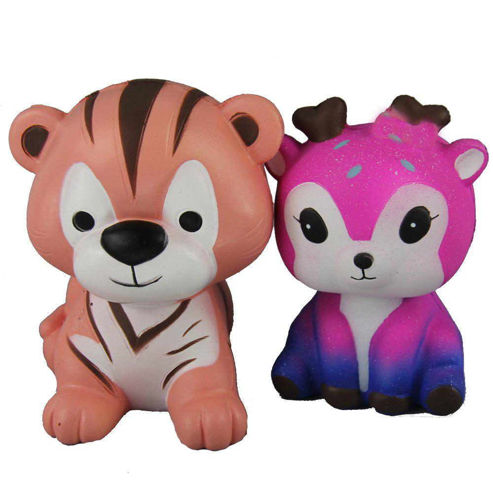 Sale 2PCS Jumbo Squishy Tigers and Pink Deer Relieve Stress Toys