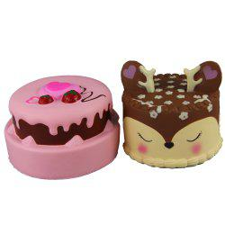 2PCS Squishy Squishy double-Strawberry et Antler C soulager les jouets de stress -