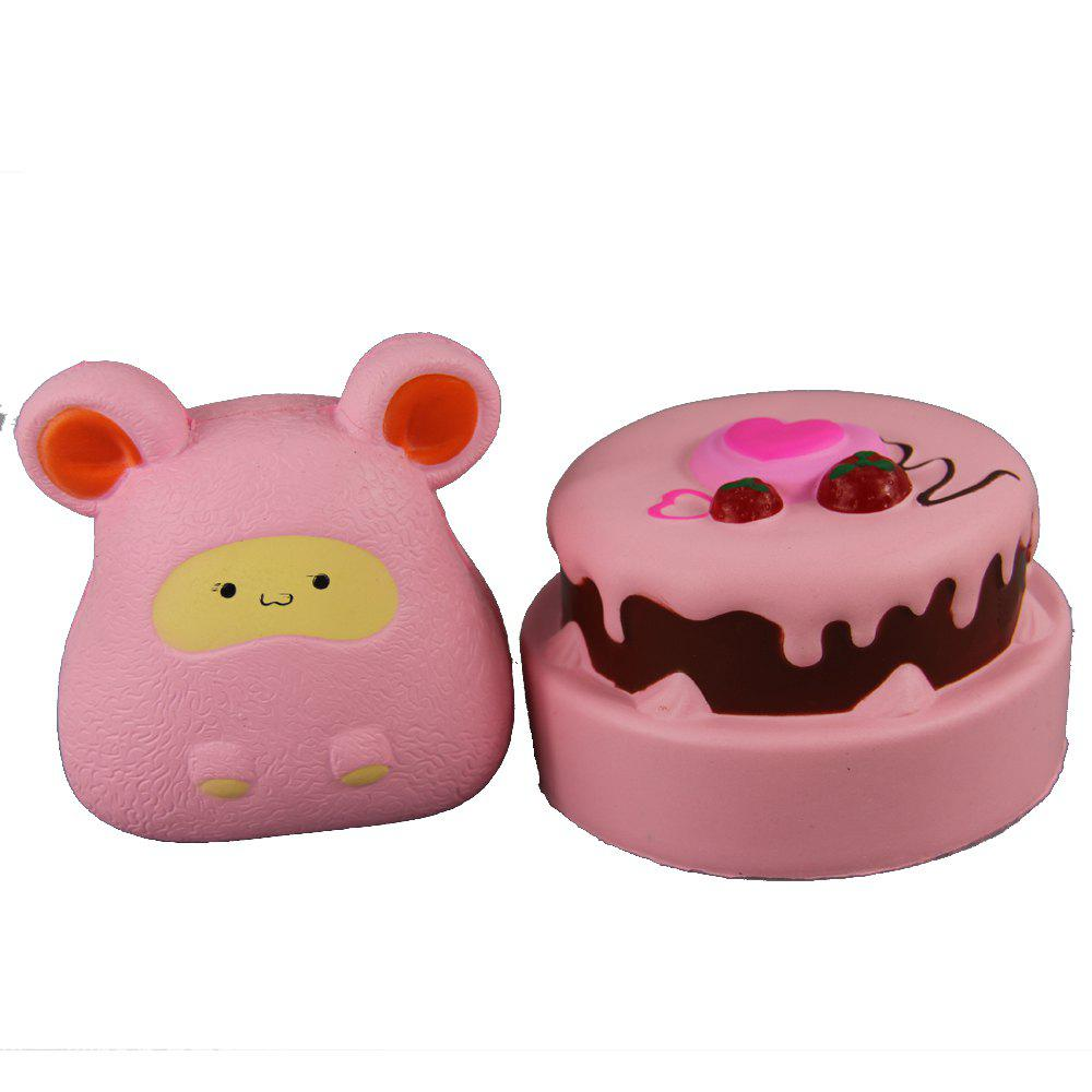 2PCS Jumbo Squishy Double Strawberry et souris rose soulagent les jouets de stress