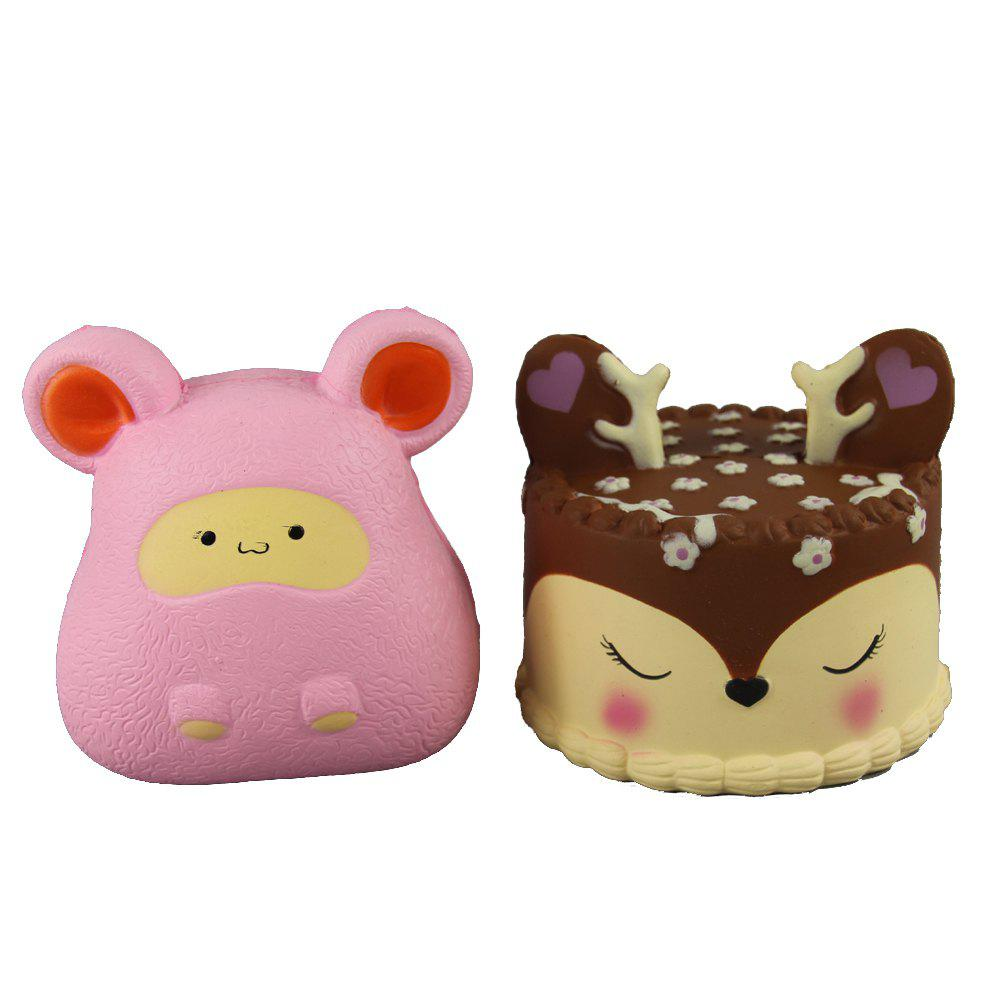 Discount 2PCS Jumbo Squishy Pink Mouse and Antler Cake Relieve Stress Toys