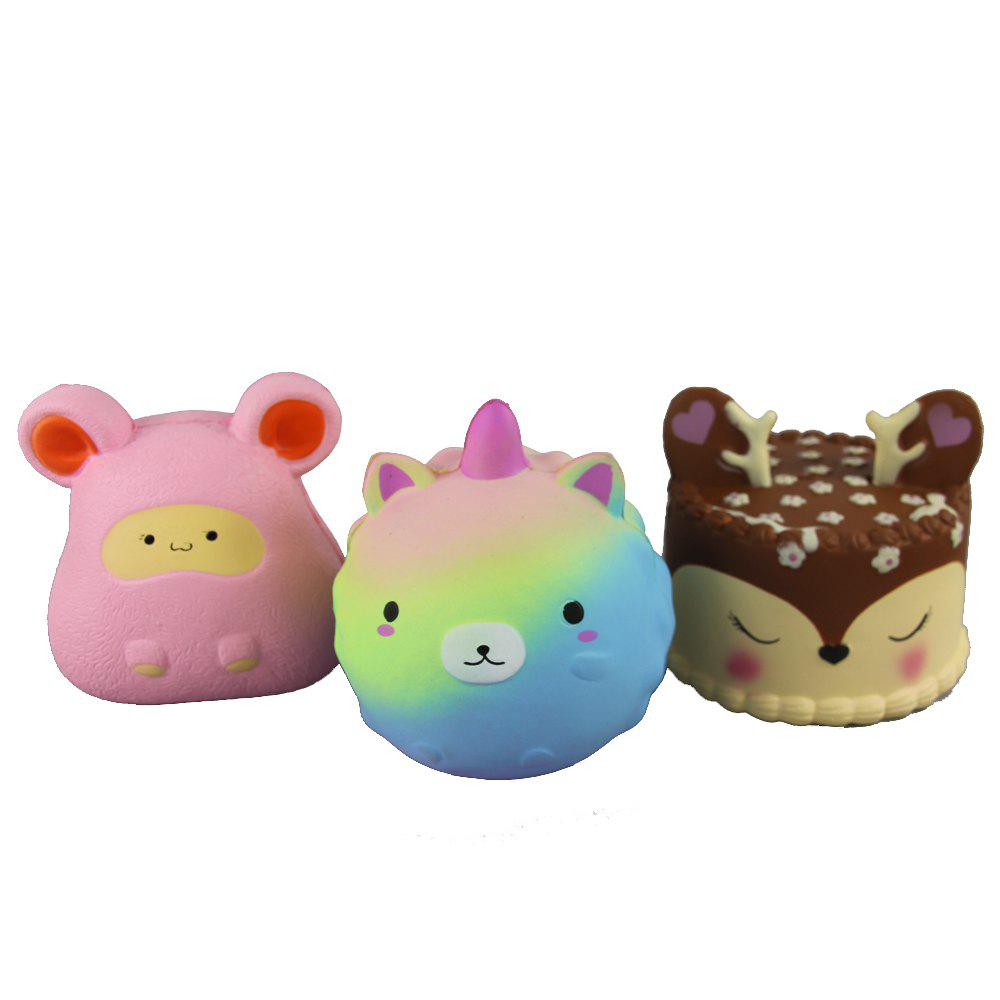 Fashion 3PCS Jumbo Squishy Pinkish Bear Pink Mouse and Antler Cake Relieve Stress Toys