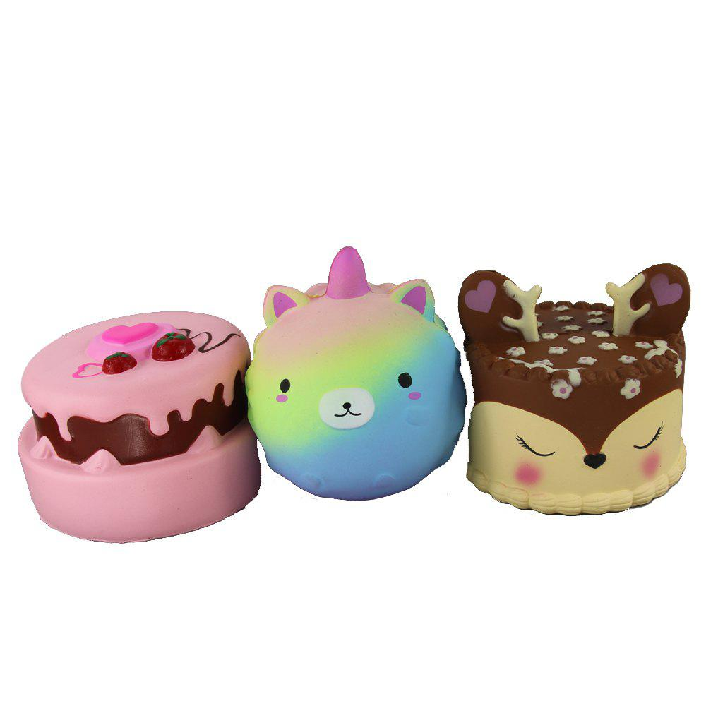 3PCS Jumbo Squishy Sharp Ours Double Decker Fraise et Antler CakeToys