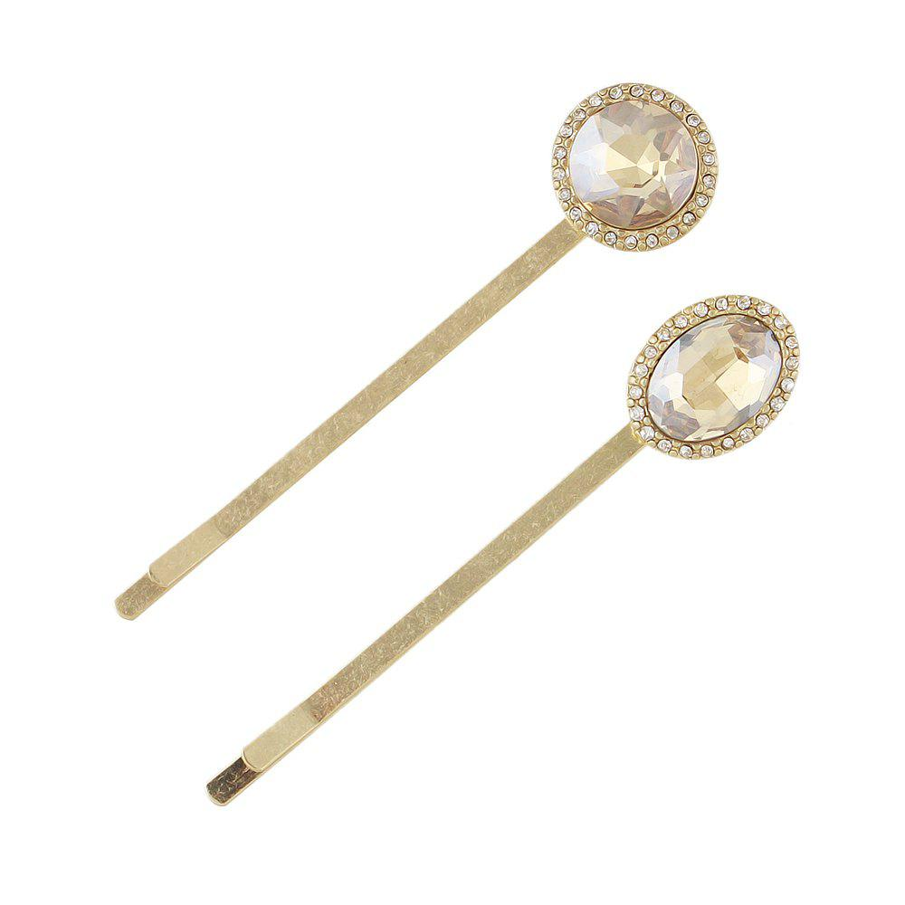 Discount 2pcs Luxury Crystal Water Drop Round Hairgrip Hairpin