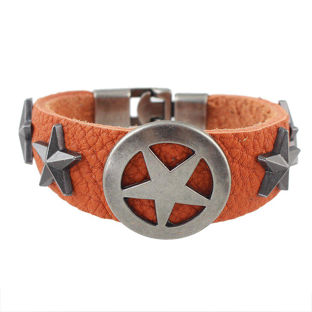 Buy Wide PU Leather Star Shape Wrap Bangle for Women and Men
