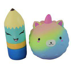 2PCS Jumbo Squishy Pencil and Sharp Bear Relieve Stress Toys -
