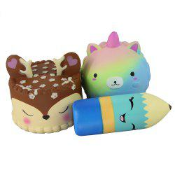 3PCS Jumbo Squishy Little Bear Pencil and Antler Cake Toys -