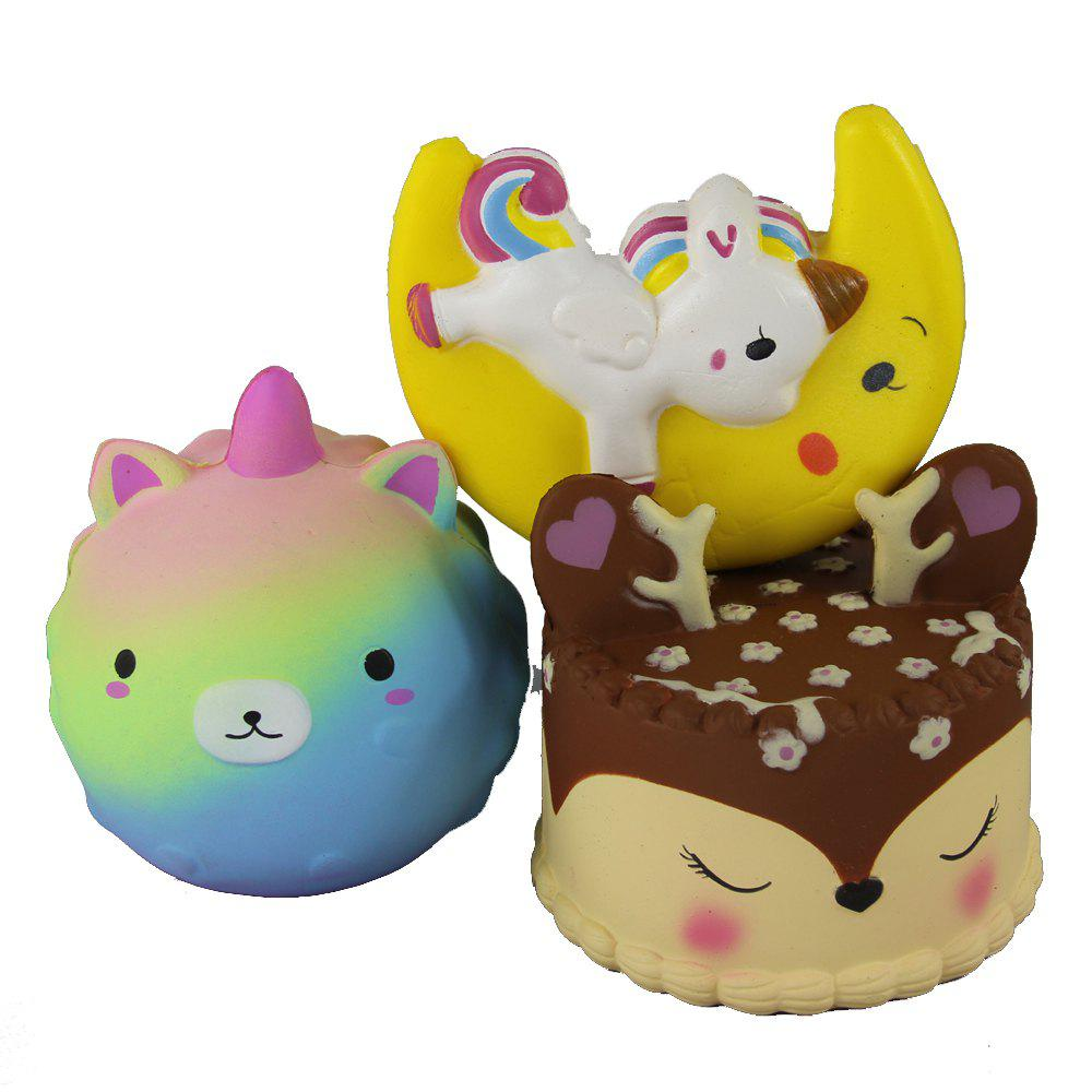 Affordable 3PCS Jumbo Squishy Cub Moon Flying Horse and Antler Cake Toys