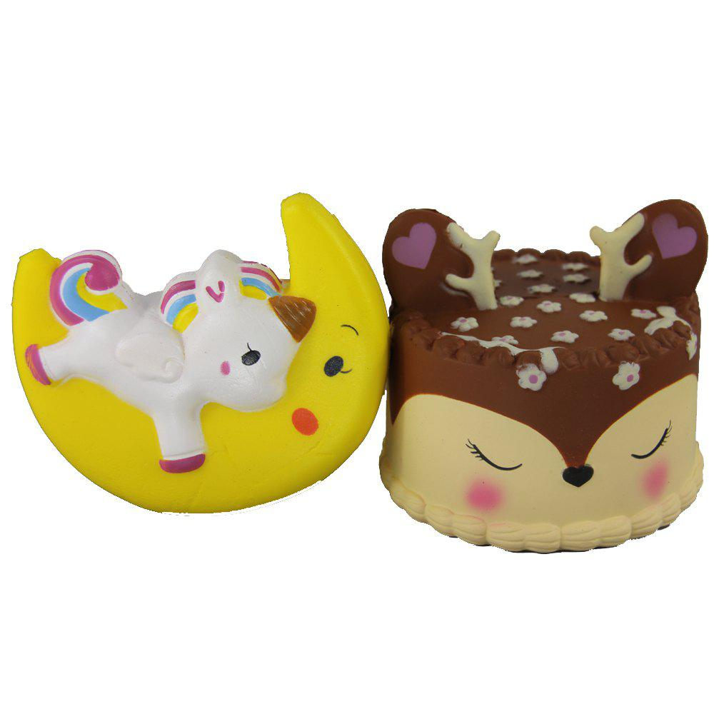 Cheap 2PCS Jumbo Squishy Moon Flying Horse and Antler Cake Relieve Stress Toys