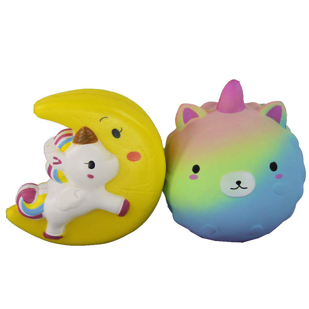 Affordable 2PCS Jumbo Squishy Moon Flying Horse and Bear Toys