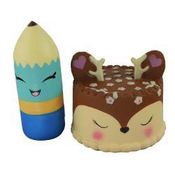 2PCS Jumbo Squishy Pencil and Antler Cake Relieve Stress Toys -