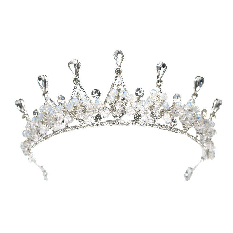 Trendy Bride Accessory Crystal Crown Silver