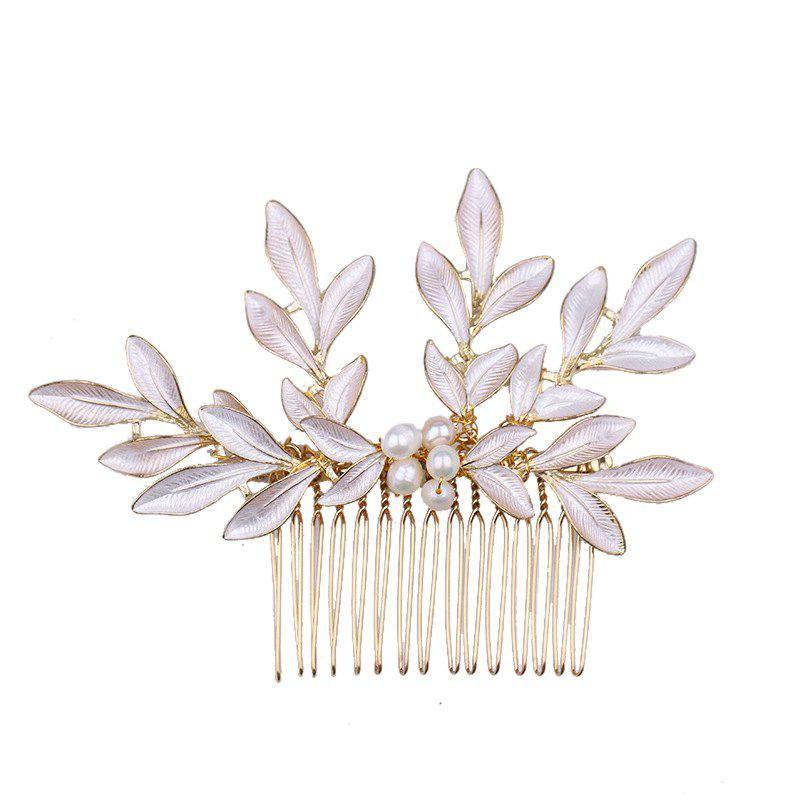New Bride Accessory Golden Leaves Pearl Comb