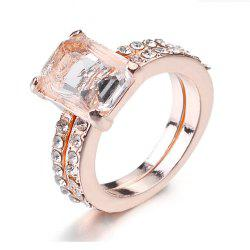 Exquisite 18K Rose Gold Floral Rings New Year Anniversary Proposal Gift Clear -