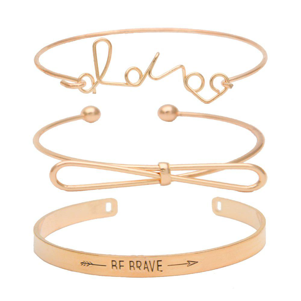 Trendy Concise Classic Three-layer Letter Bow Bracelet Set