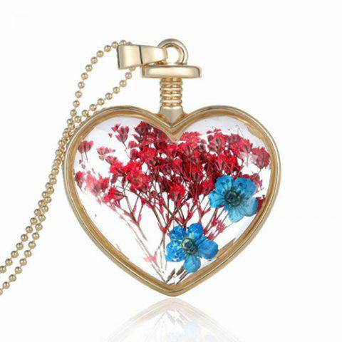 Glass pendant necklace free shipping discount and cheap sale luxury heart glass bottle dried flower pendant necklace aloadofball Gallery