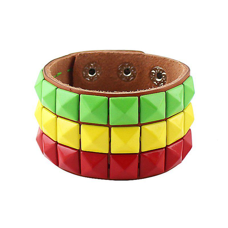 Sale PU Leather Colorful Neon Rivet Bangle