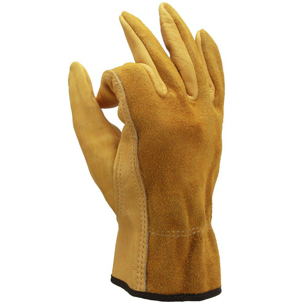 Buy OZERO Cowhide Leather Work Gloves Drivers Safety Unlined Durable Wear-Resistant
