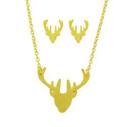 Minimalist Metal Antler Pendant Necklace and Earrings -