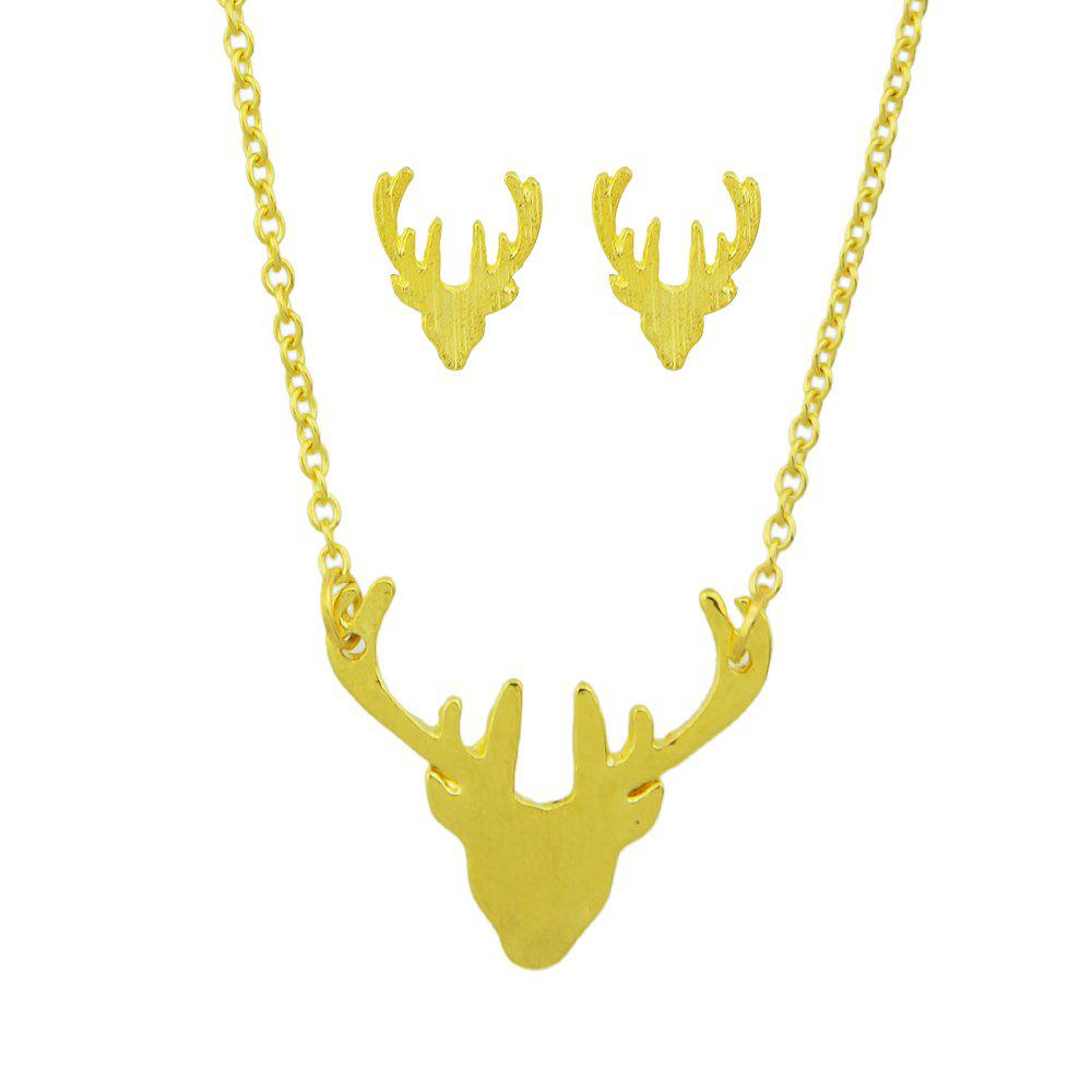 Shops Minimalist Metal Antler Pendant Necklace and Earrings