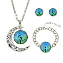 Colorful Tree Pattern Round Pendant Necklace Earrings Bracelet -