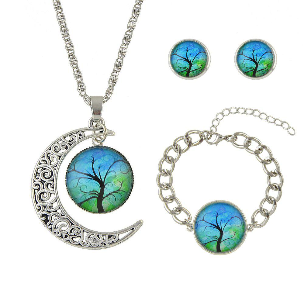 Discount Colorful Tree Pattern Round Pendant Necklace Earrings Bracelet