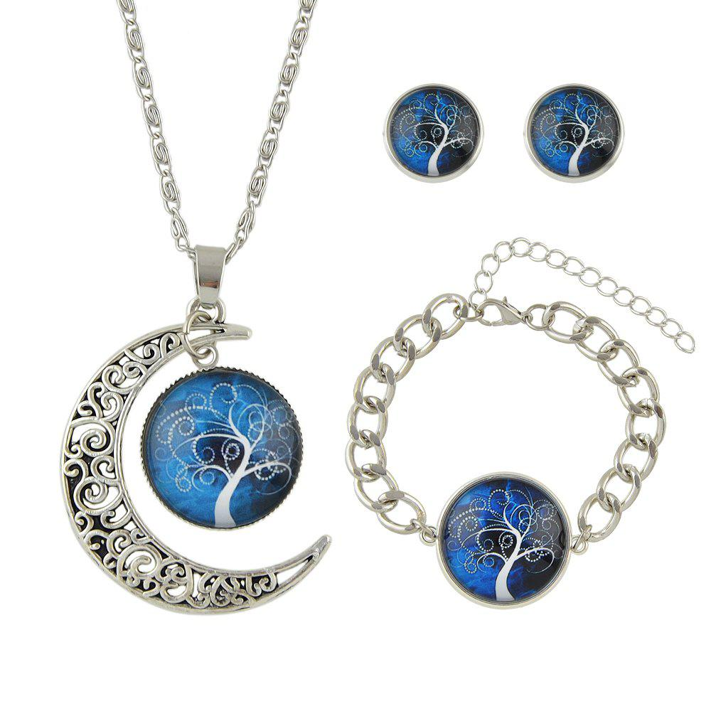 Outfit Colorful Tree Pattern Round Pendant Necklace Earrings Bracelet