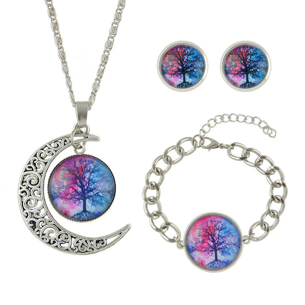 Chic Colorful Tree Pattern Round Pendant Necklace Earrings Bracelet