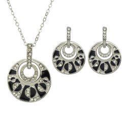 Fashion Enamel Rhinestone Circular Geometry Necklace Earrings -