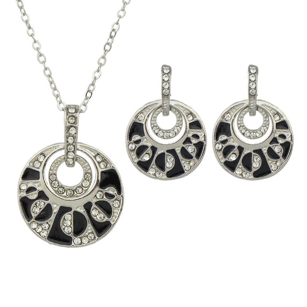 Shops Fashion Enamel Rhinestone Circular Geometry Necklace Earrings