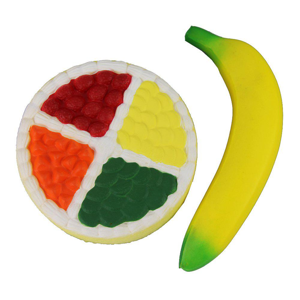 Outfit 2PCS Jumbo Squishy Four Colored Fruit Cake and Banana Toys