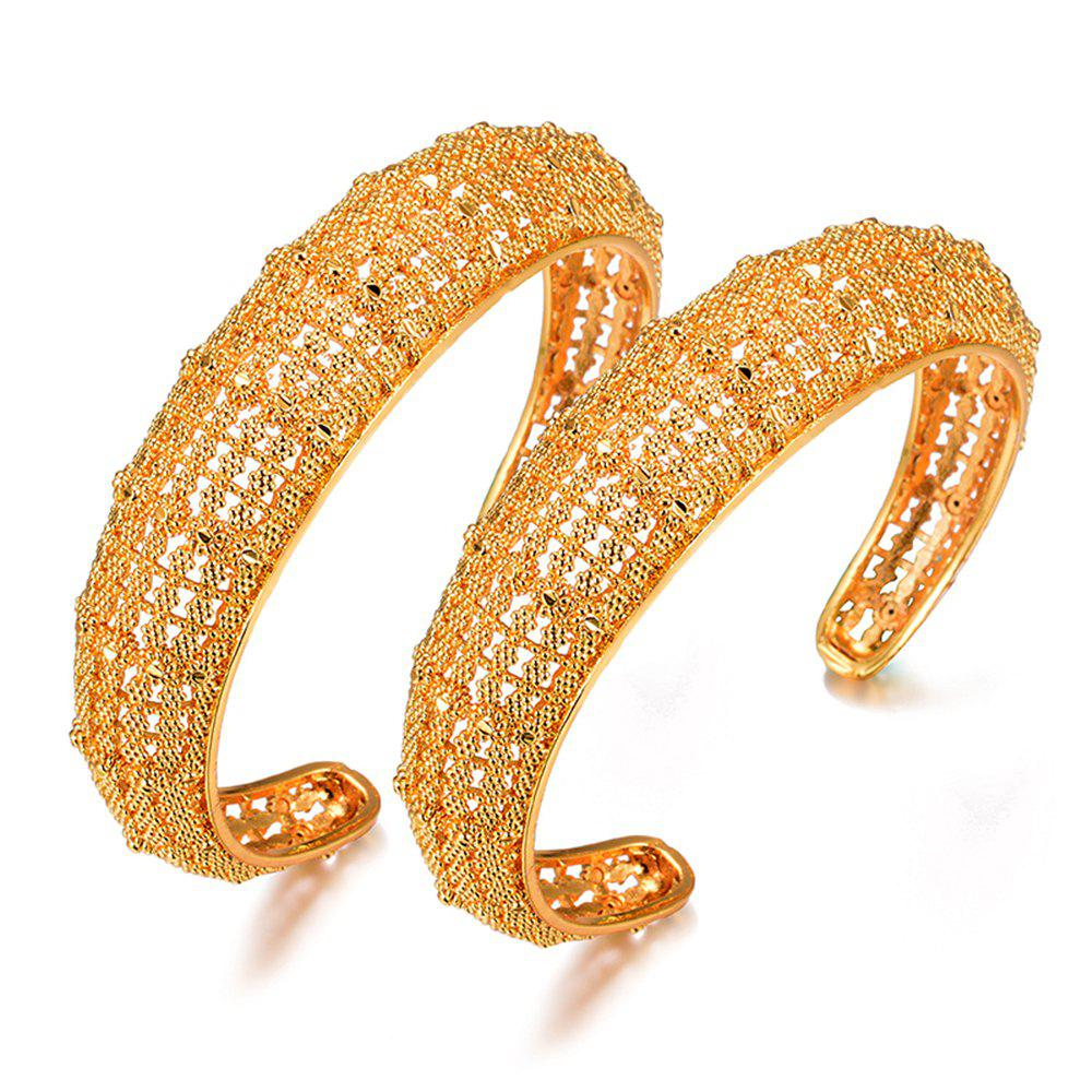 Best Two Pcs/Lot Ethnic Hollow Bracelet Bangles