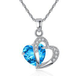 Peach Heart Drilling Pendant Water Chain Crystal Necklace -