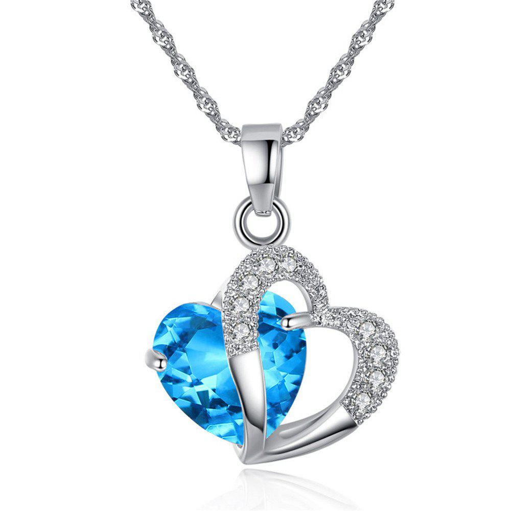 Store Peach Heart Drilling Pendant Water Chain Crystal Necklace