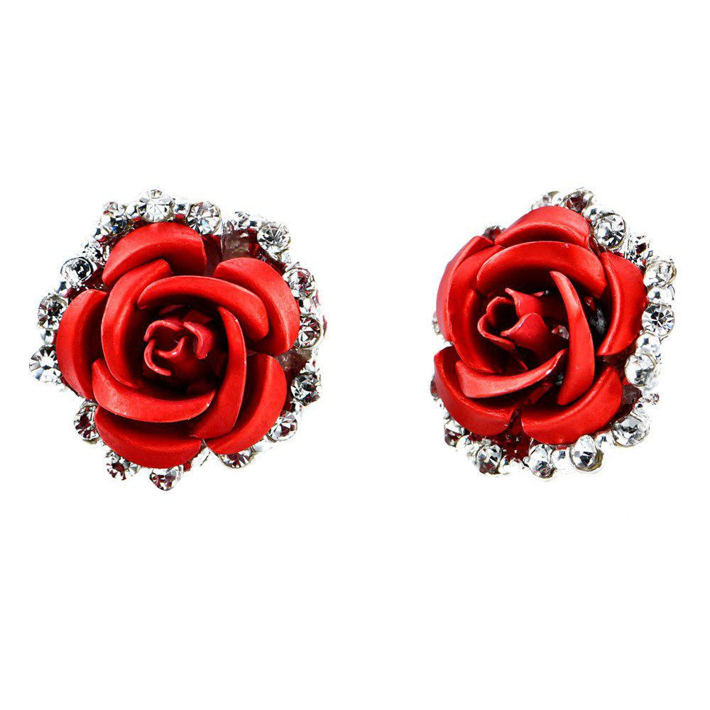 Affordable Women S Rose Shaped Alloy Rhinestone Stud Earrings