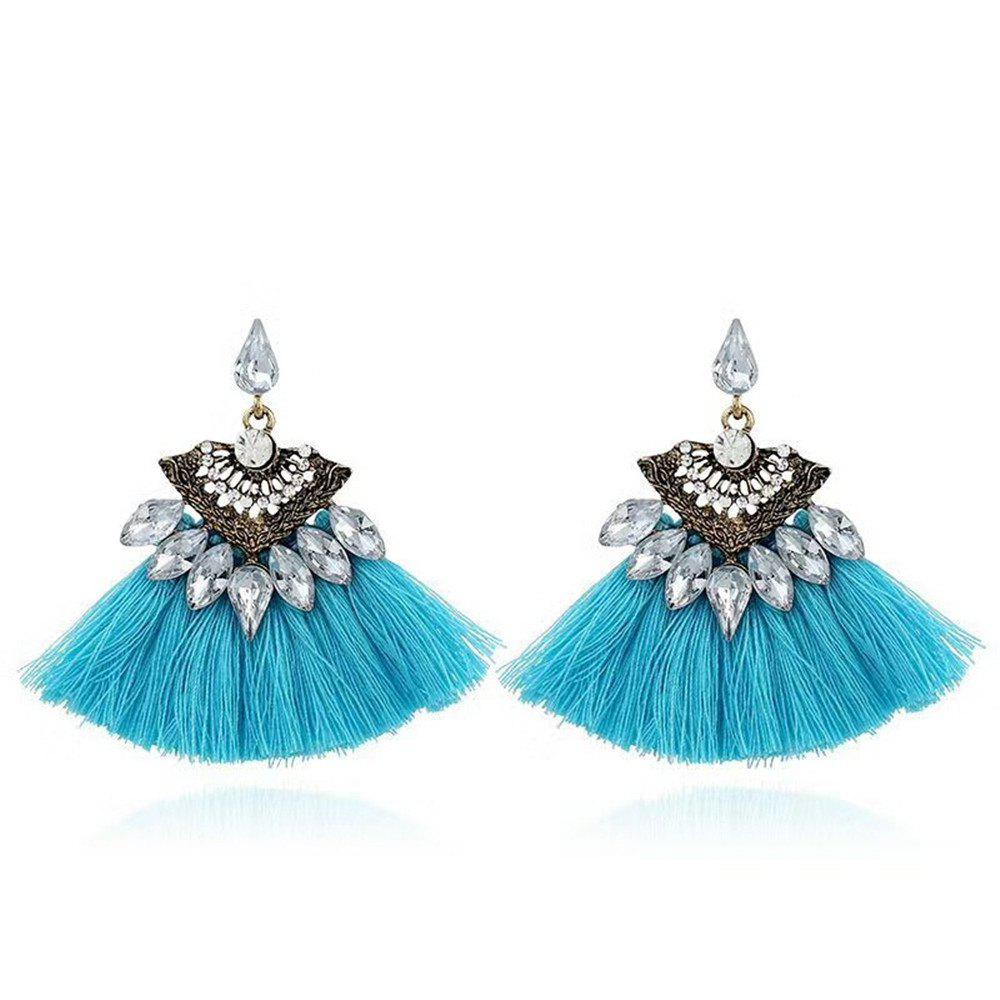 Mode Multicolors Crystal Shell Forme Gland Dangle Gouttes Fringing Boucles d'oreilles