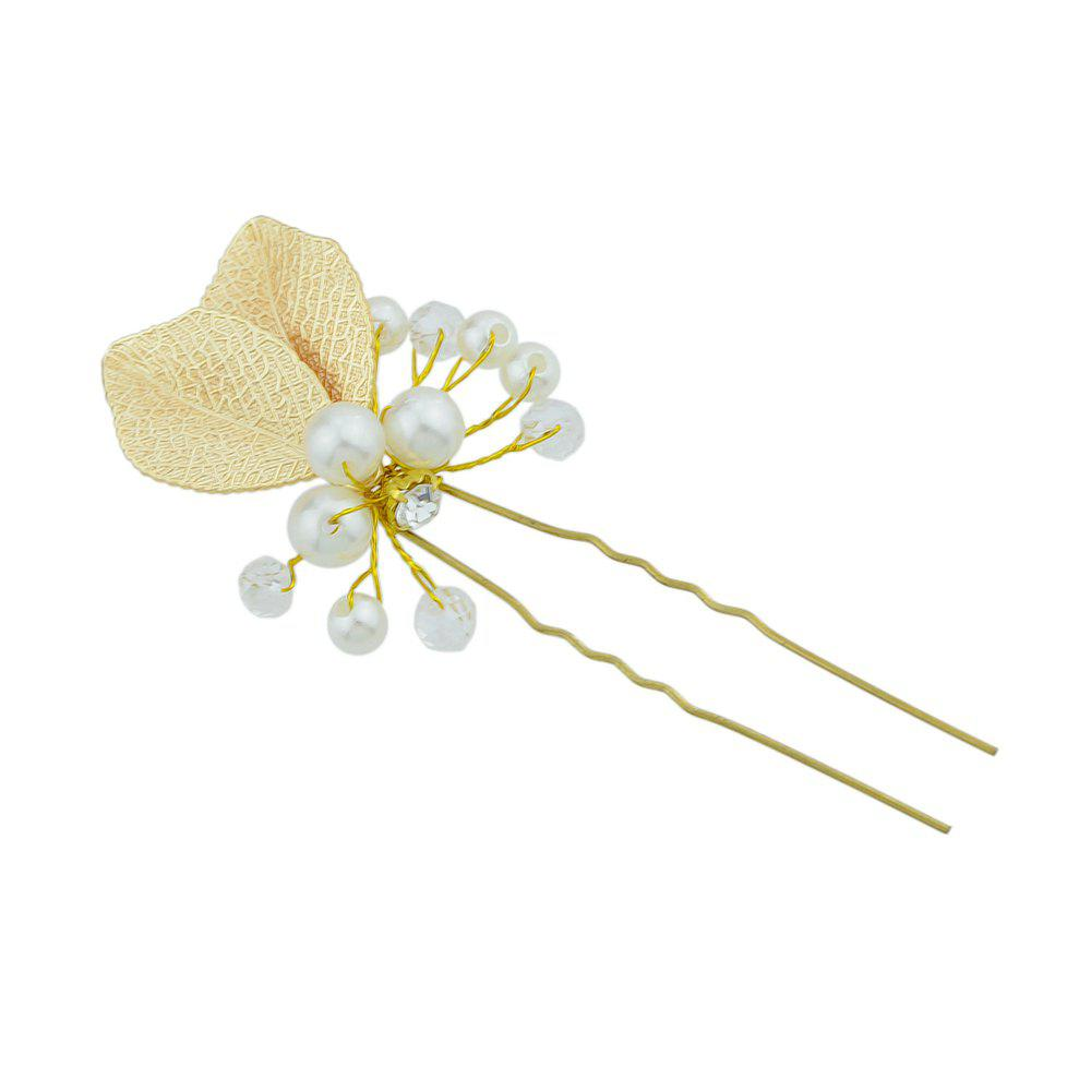 Fashion Fashion Gold Plated Bead Leaf Shape Hairpin