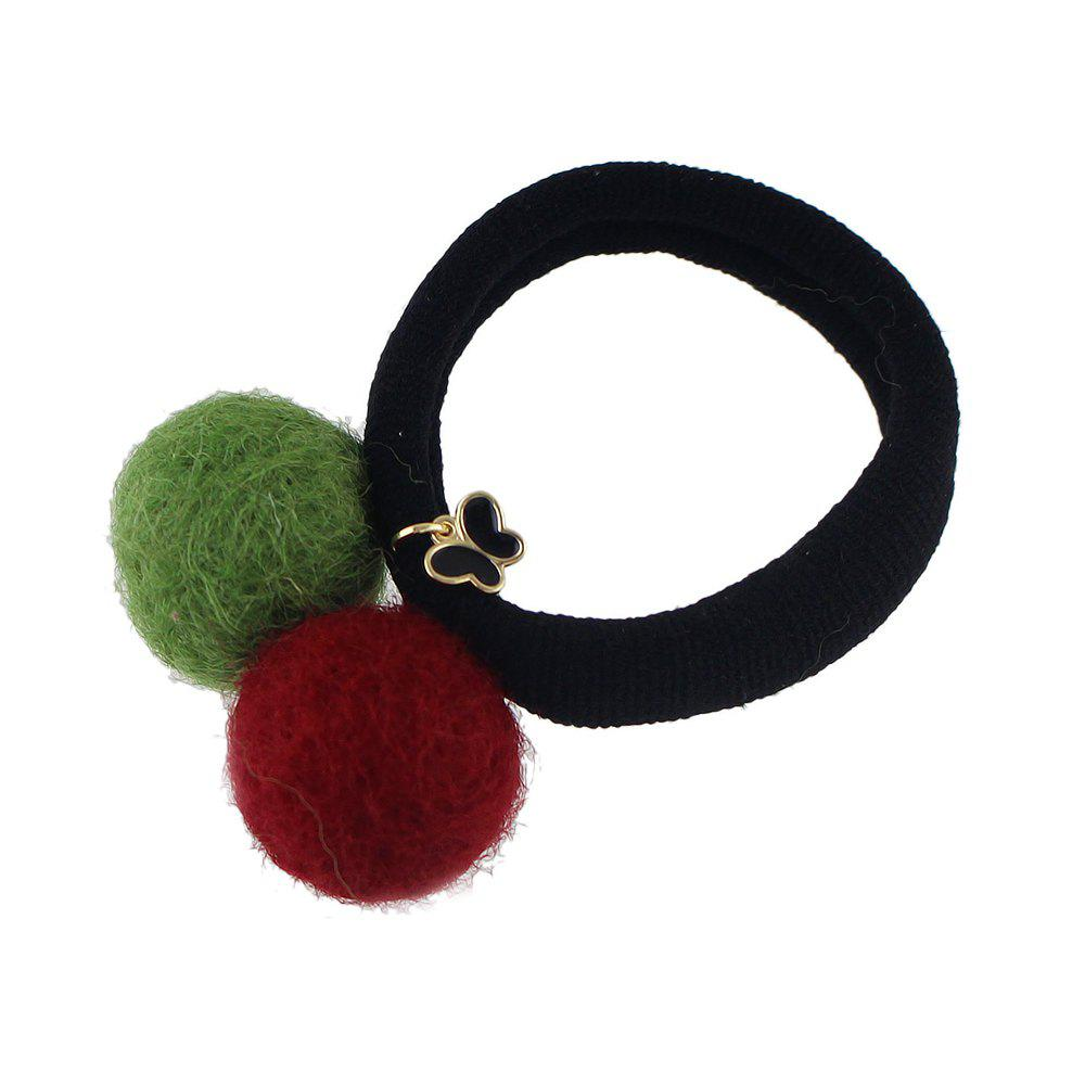 Chic Colorful Double Pompon Elastic Hair Rope Hairband