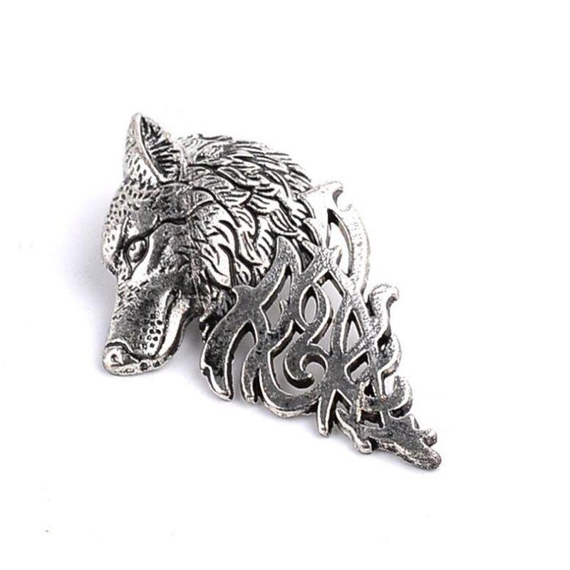Unique Personality Men'S Suit Collar Pin Buckle Domineering Wolf Head Brooch